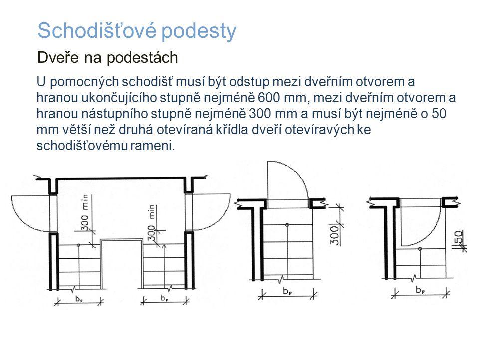 Dveře na podestách Schodišťové podesty U pomocných schodišť musí být odstup mezi dveřním otvorem a hranou ukončujícího stupně nejméně 600 mm, mezi dveřním otvorem a hranou nástupního stupně nejméně 300 mm a musí být nejméně o 50 mm větší než druhá otevíraná křídla dveří otevíravých ke schodišťovému rameni.