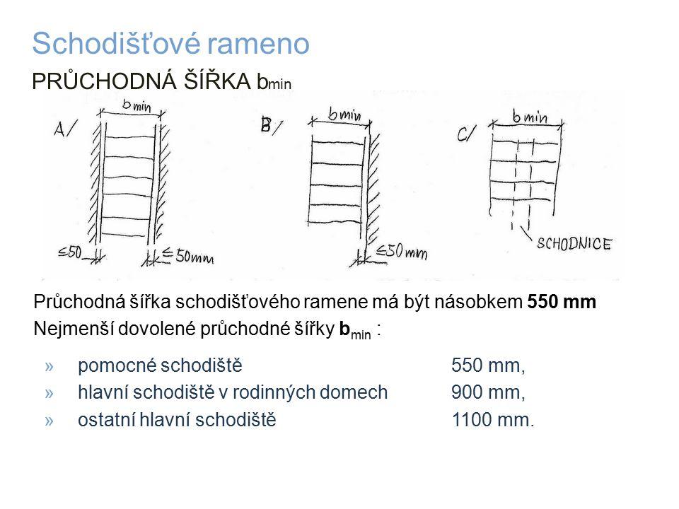 PRŮCHODNÁ ŠÍŘKA b min Schodišťové rameno Průchodná šířka schodišťového ramene má být násobkem 550 mm Nejmenší dovolené průchodné šířky b min : »pomocné schodiště 550 mm, »hlavní schodiště v rodinných domech 900 mm, »ostatní hlavní schodiště 1100 mm.