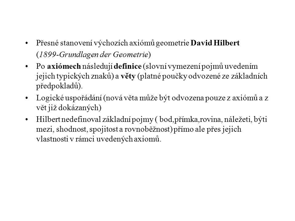 Přesné stanovení výchozích axiómů geometrie David Hilbert (1899-Grundlagen der Geometrie) Po axiómech následují definice (slovní vymezení pojmů uveden