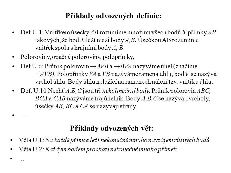 Příklady odvozených vět: Věta U.1: Na každé přímce leží nekonečně mnoho navzájem různých bodů. Věta U.2: Každým bodem prochází nekonečně mnoho přímek.