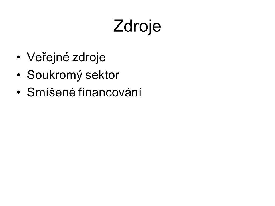 Zdroje Veřejné zdroje Soukromý sektor Smíšené financování