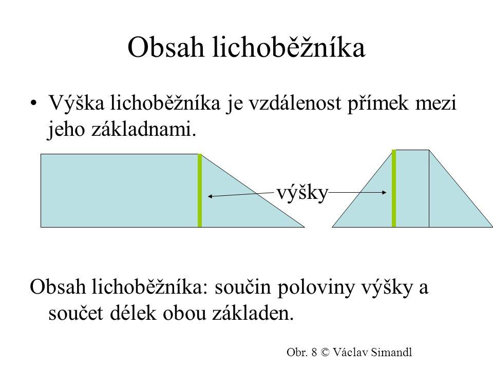 Obsah lichoběžníka Výška lichoběžníka je vzdálenost přímek mezi jeho základnami.