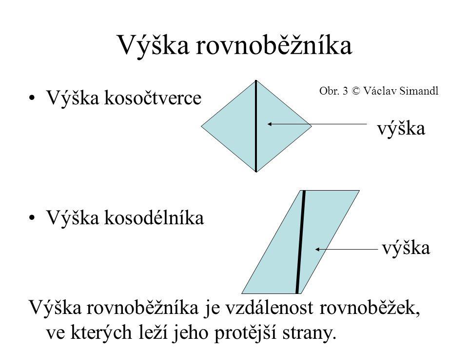 Výpočet obsahu rovnoběžníka Obsah rovnoběžníka je roven součinu velikosti strany a její příslušné výšky.