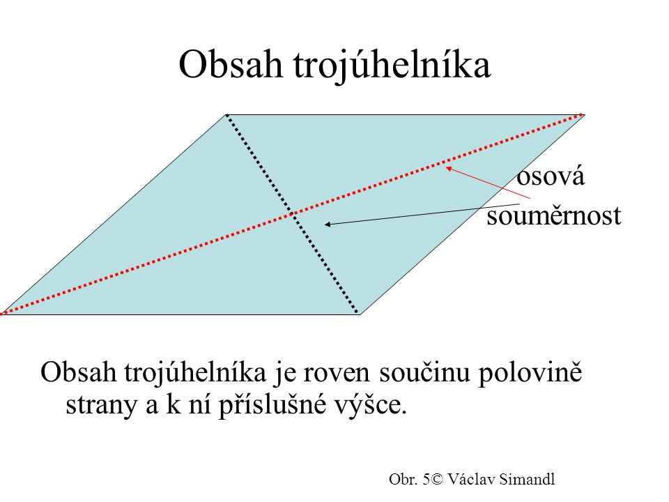 Obsah trojúhelníka osová souměrnost Obsah trojúhelníka je roven součinu polovině strany a k ní příslušné výšce.