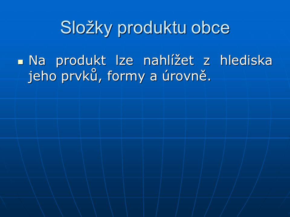 Složky produktu obce Na produkt lze nahlížet z hlediska jeho prvků, formy a úrovně. Na produkt lze nahlížet z hlediska jeho prvků, formy a úrovně.