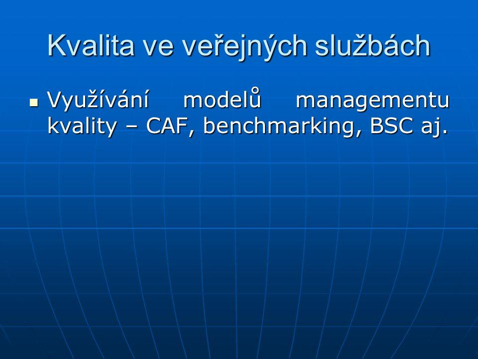 Kvalita ve veřejných službách Využívání modelů managementu kvality – CAF, benchmarking, BSC aj. Využívání modelů managementu kvality – CAF, benchmarki