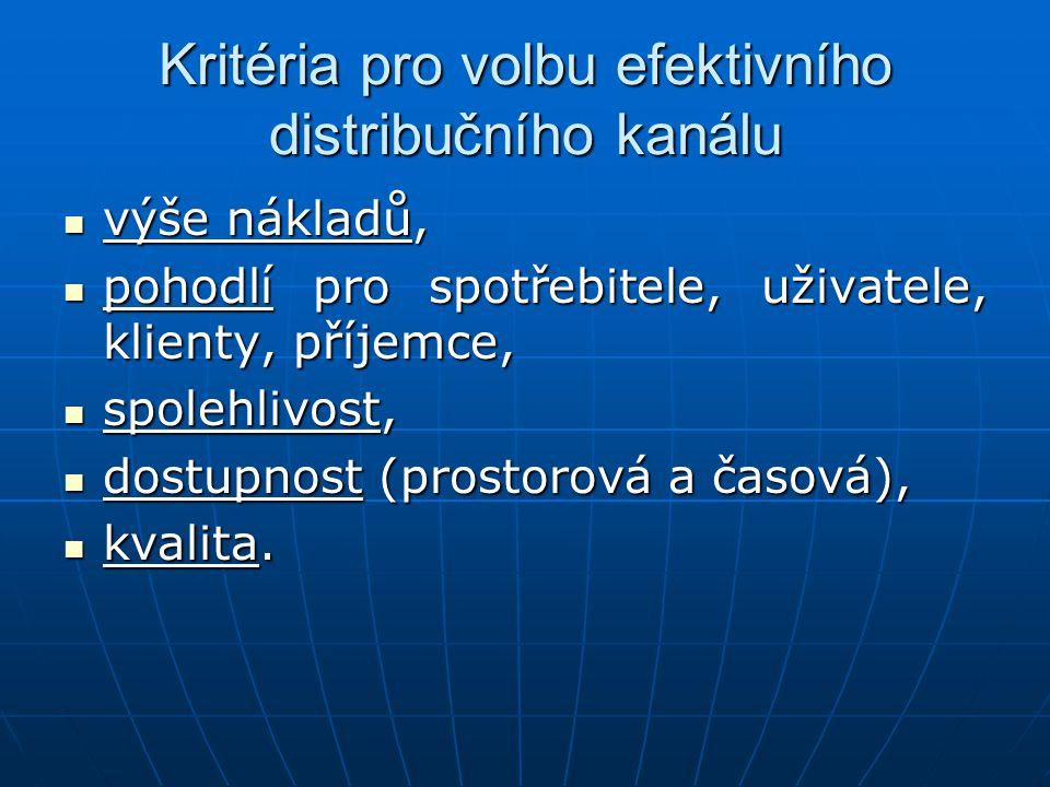 Kritéria pro volbu efektivního distribučního kanálu výše nákladů, výše nákladů, pohodlí pro spotřebitele, uživatele, klienty, příjemce, pohodlí pro sp
