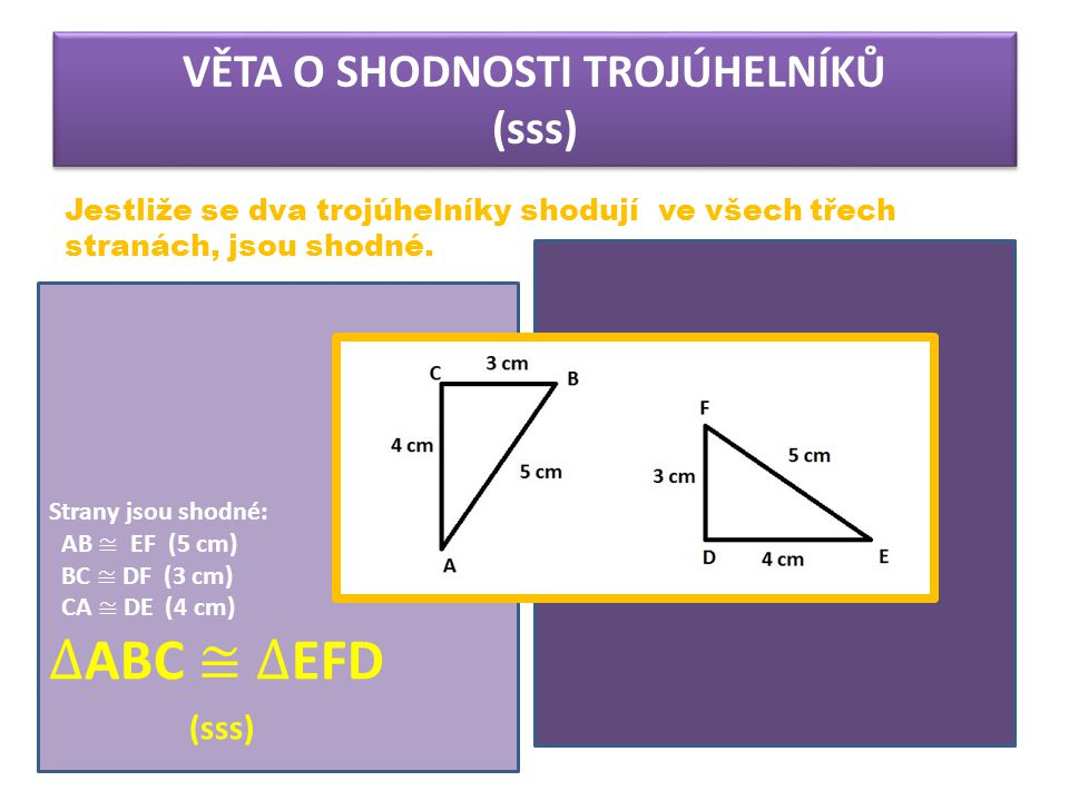 VĚTA O SHODNOSTI TROJÚHELNÍKŮ (sss) Jestliže se dva trojúhelníky shodují ve všech třech stranách, jsou shodné.
