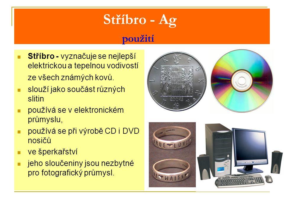 Stříbro - Ag použití Stříbro - vyznačuje se nejlepší elektrickou a tepelnou vodivostí ze všech známých kovů.