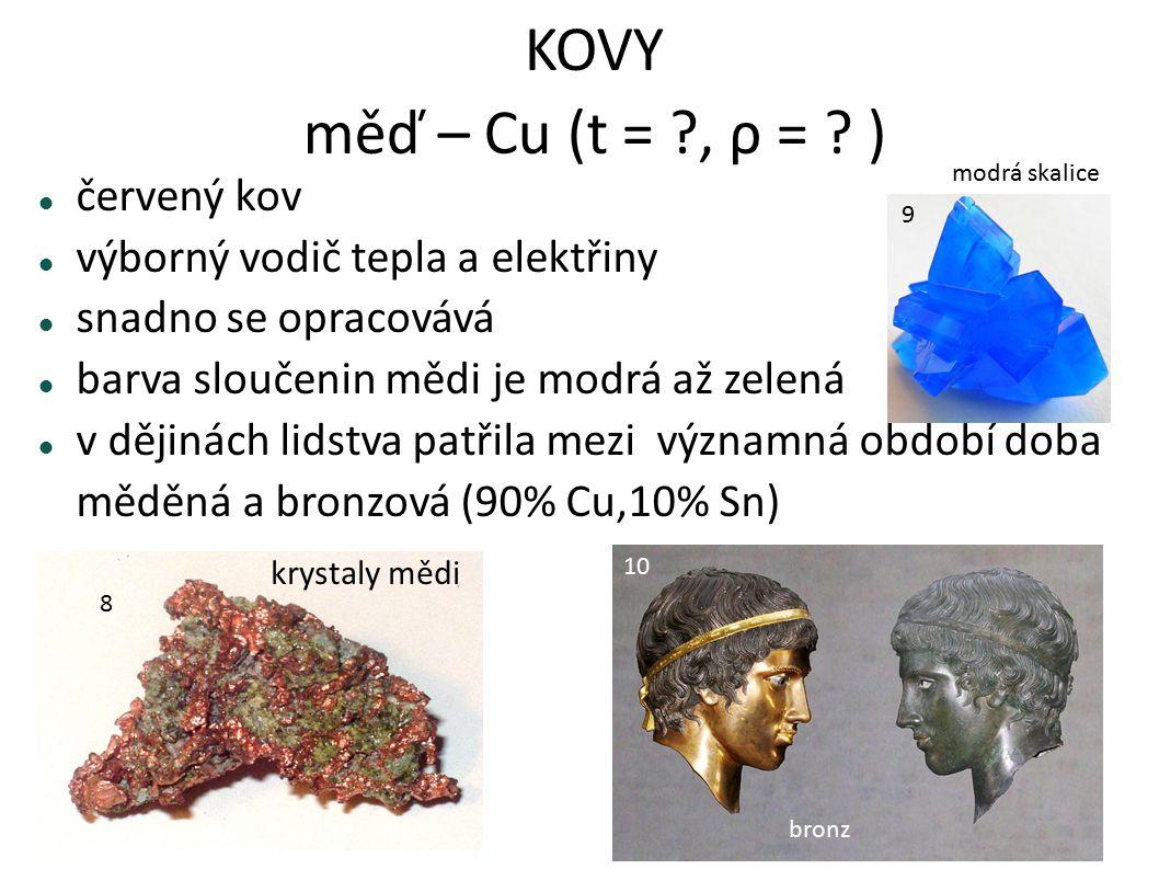 KOVY měď – Cu (t = ?, ρ = ? ) červený kov výborný vodič tepla a elektřiny snadno se opracovává barva sloučenin mědi je modrá až zelená v dějinách lids