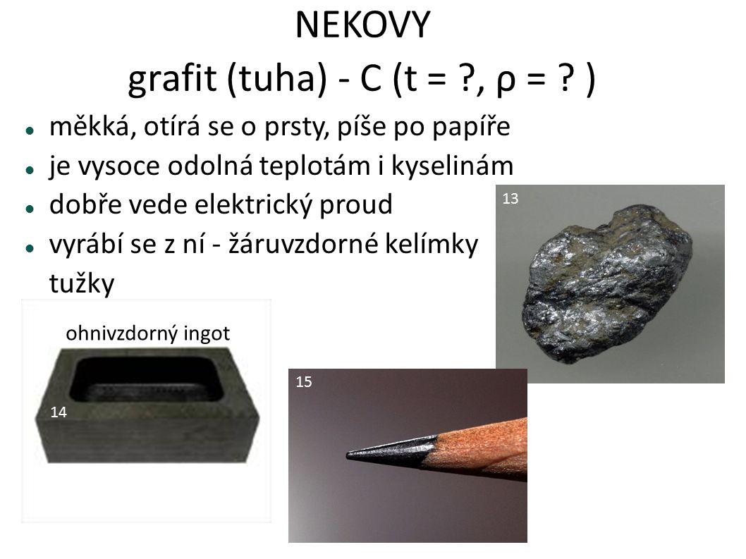 NEKOVY grafit (tuha) - C (t = ?, ρ = ? ) měkká, otírá se o prsty, píše po papíře je vysoce odolná teplotám i kyselinám dobře vede elektrický proud vyr