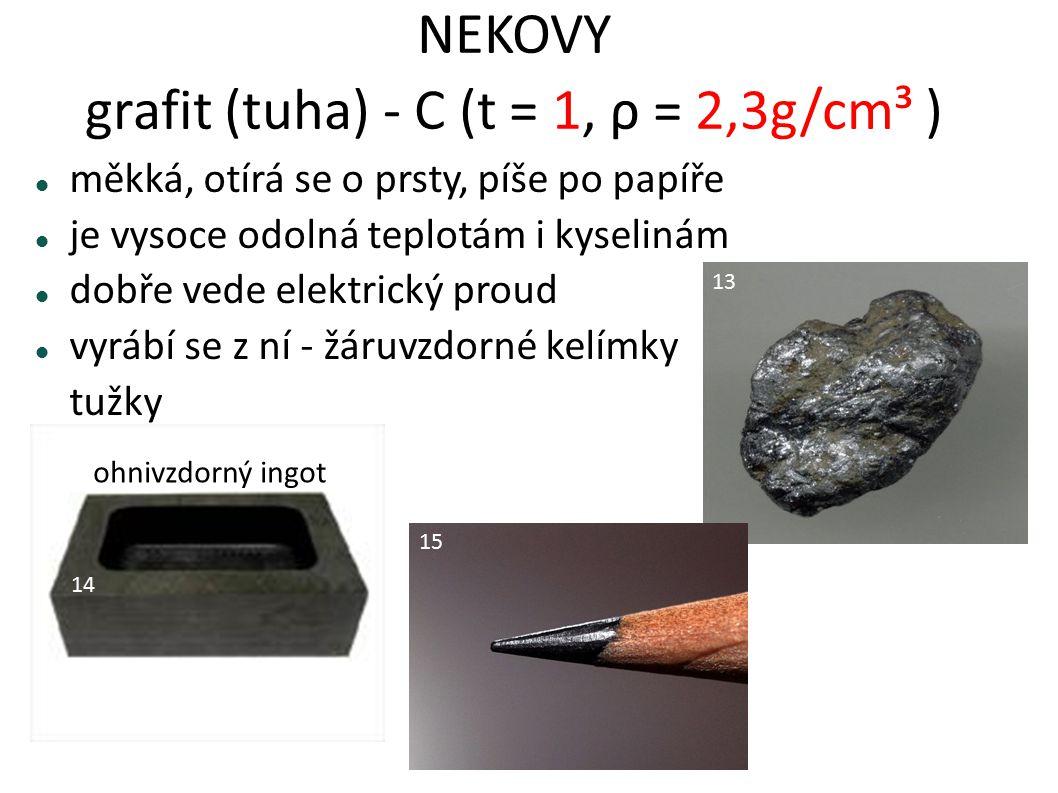 NEKOVY grafit (tuha) - C (t = 1, ρ = 2,3g/cm³ ) měkká, otírá se o prsty, píše po papíře je vysoce odolná teplotám i kyselinám dobře vede elektrický pr