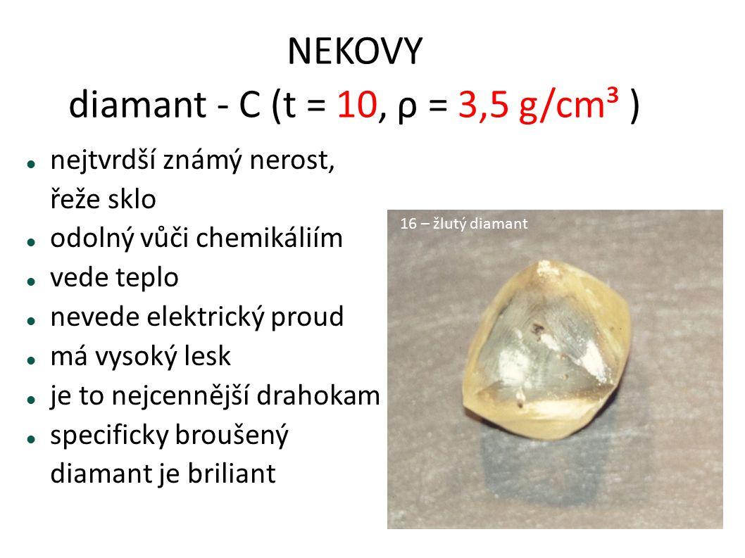 NEKOVY diamant - C (t = 10, ρ = 3,5 g/cm³ ) nejtvrdší známý nerost, řeže sklo odolný vůči chemikáliím vede teplo nevede elektrický proud má vysoký les