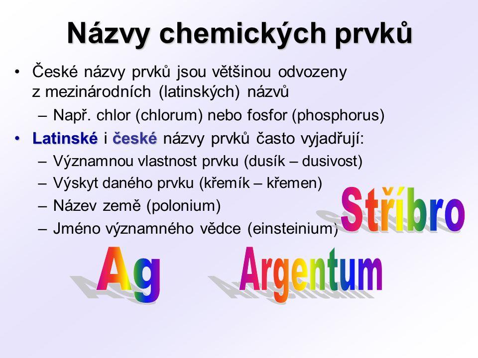 Názvy chemických prvků České názvy prvků jsou většinou odvozeny z mezinárodních (latinských) názvů –Např. chlor (chlorum) nebo fosfor (phosphorus) Lat