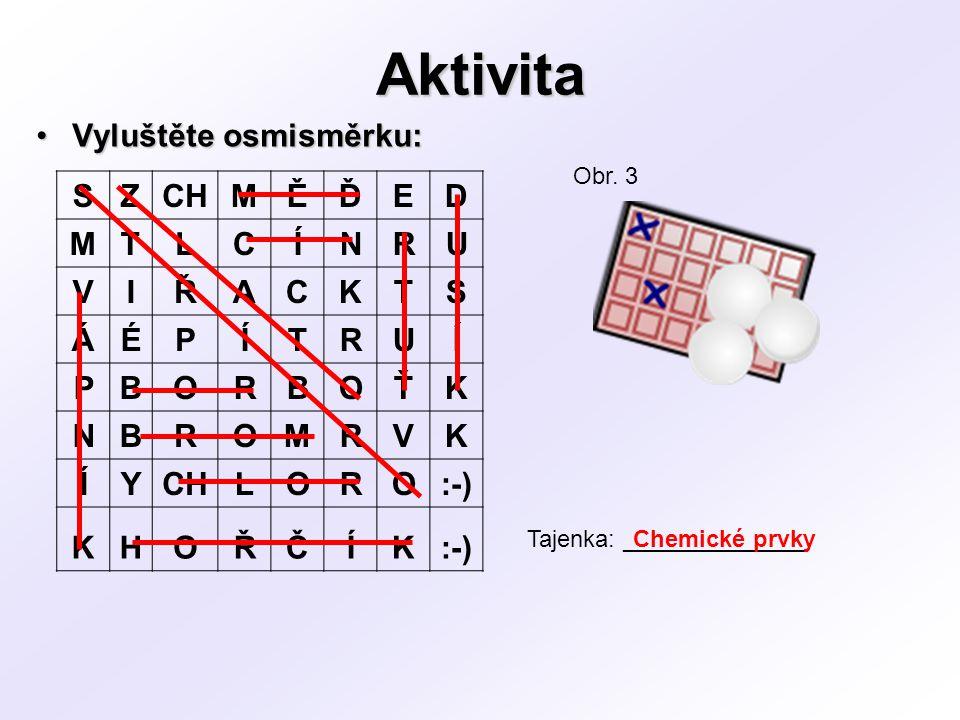 Značky prvků Značky prvků:Značky prvků: –Jsou odvozeny z mezinárodních názvů prvků –Tvoří je: s 1.Počáteční písmeno latinského názvu prvku (např.