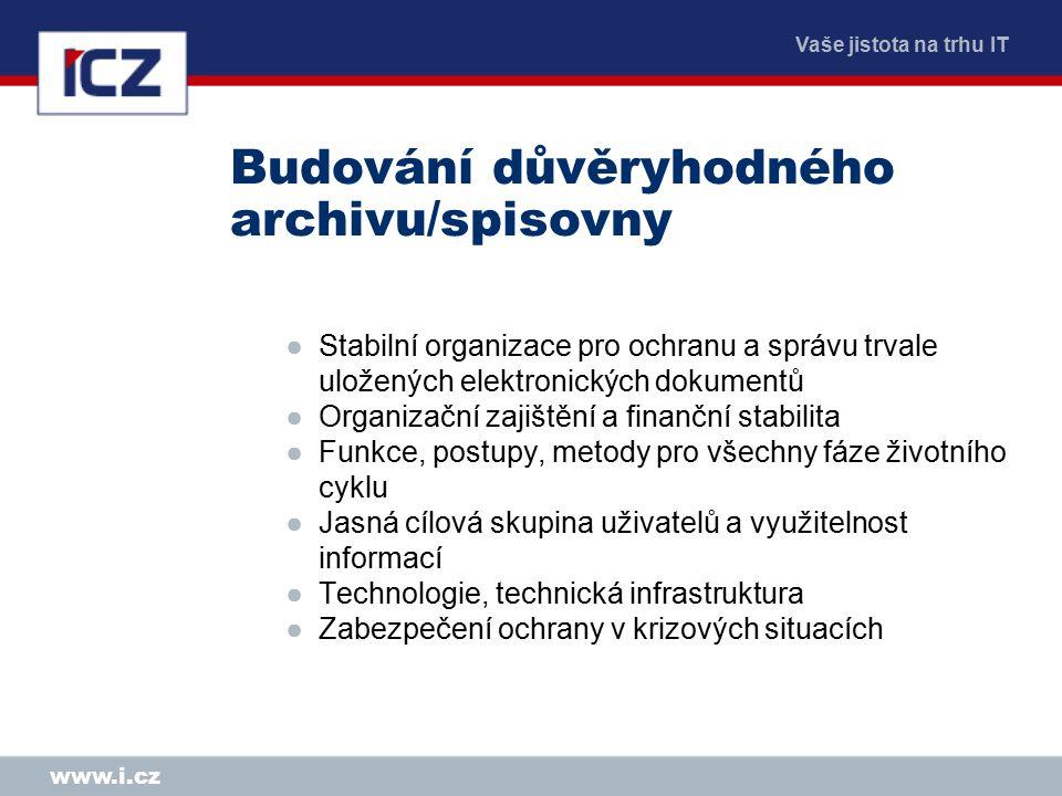 Vaše jistota na trhu IT www.i.cz Budování důvěryhodného archivu/spisovny ●Stabilní organizace pro ochranu a správu trvale uložených elektronických dok