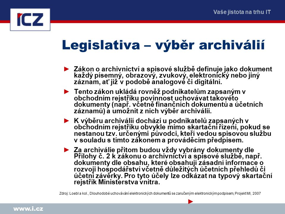 Vaše jistota na trhu IT www.i.cz Legislativa – výběr archiválií ►Zákon o archivnictví a spisové službě definuje jako dokument každý písemný, obrazový, zvukový, elektronický nebo jiný záznam, ať již v podobě analogové či digitální.