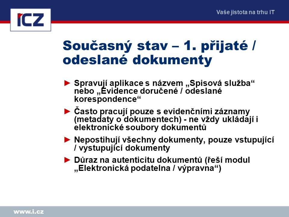 Vaše jistota na trhu IT www.i.cz Současný stav – 1.