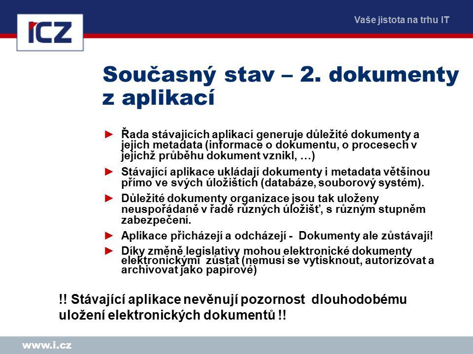 Vaše jistota na trhu IT www.i.cz Současný stav – 2. dokumenty z aplikací ►Řada stávajících aplikací generuje důležité dokumenty a jejich metadata (inf