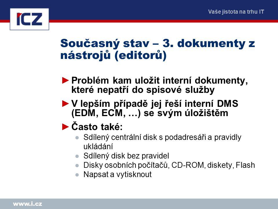 Vaše jistota na trhu IT www.i.cz Současný stav – 3. dokumenty z nástrojů (editorů) ►Problém kam uložit interní dokumenty, které nepatří do spisové slu