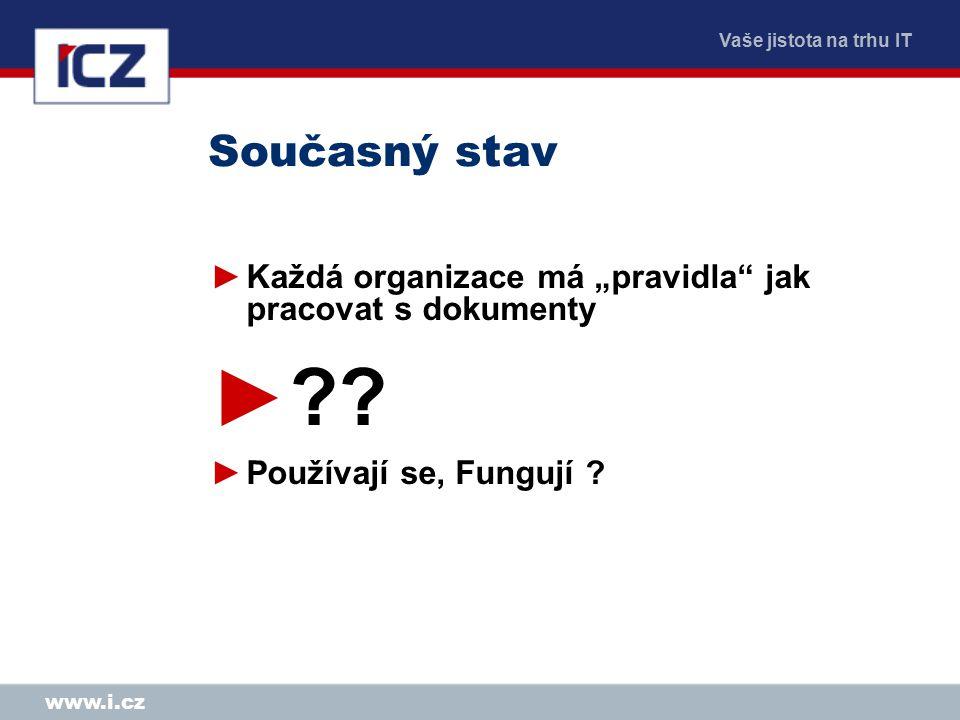 """Vaše jistota na trhu IT www.i.cz Současný stav ►Každá organizace má """"pravidla"""" jak pracovat s dokumenty ►?? ►Používají se, Fungují ?"""
