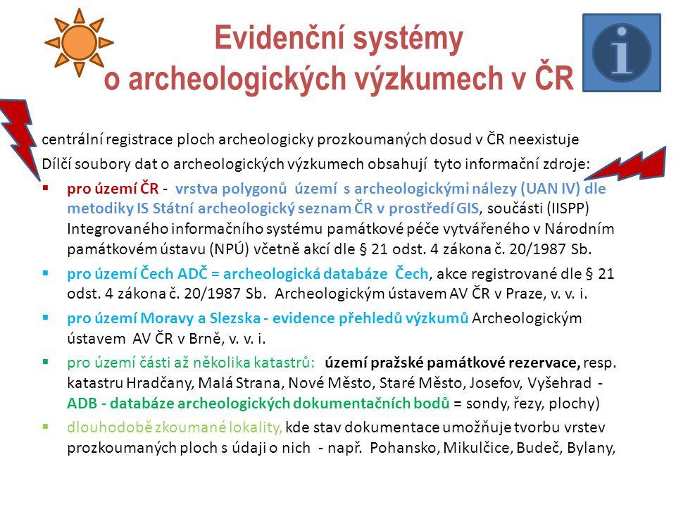 Evidenční systémy o archeologických výzkumech v ČR centrální registrace ploch archeologicky prozkoumaných dosud v ČR neexistuje Dílčí soubory dat o ar