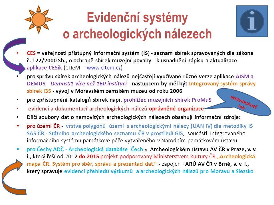 Evidenční systémy o archeologických nálezech CES = veřejnosti přístupný informační systém (IS) - seznam sbírek spravovaných dle zákona č.