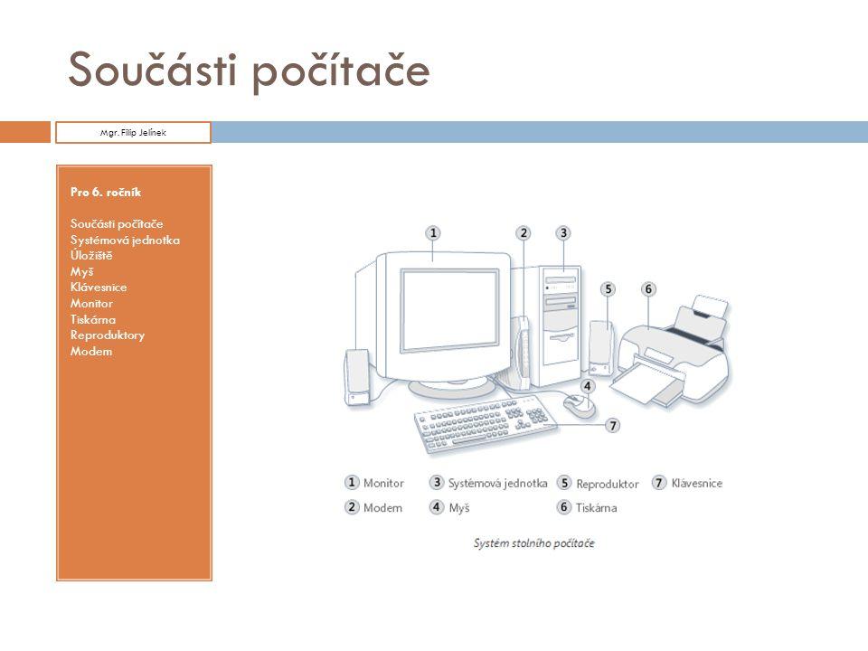 Modem  Modem slouží pro připojení počítače k Internetu.