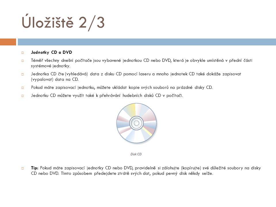 Úložiště 3/3  Disketová jednotka  Disketové jednotky ukládají informace na diskety.