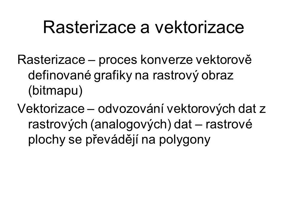 Rasterizace a vektorizace Rasterizace – proces konverze vektorově definované grafiky na rastrový obraz (bitmapu) Vektorizace – odvozování vektorových