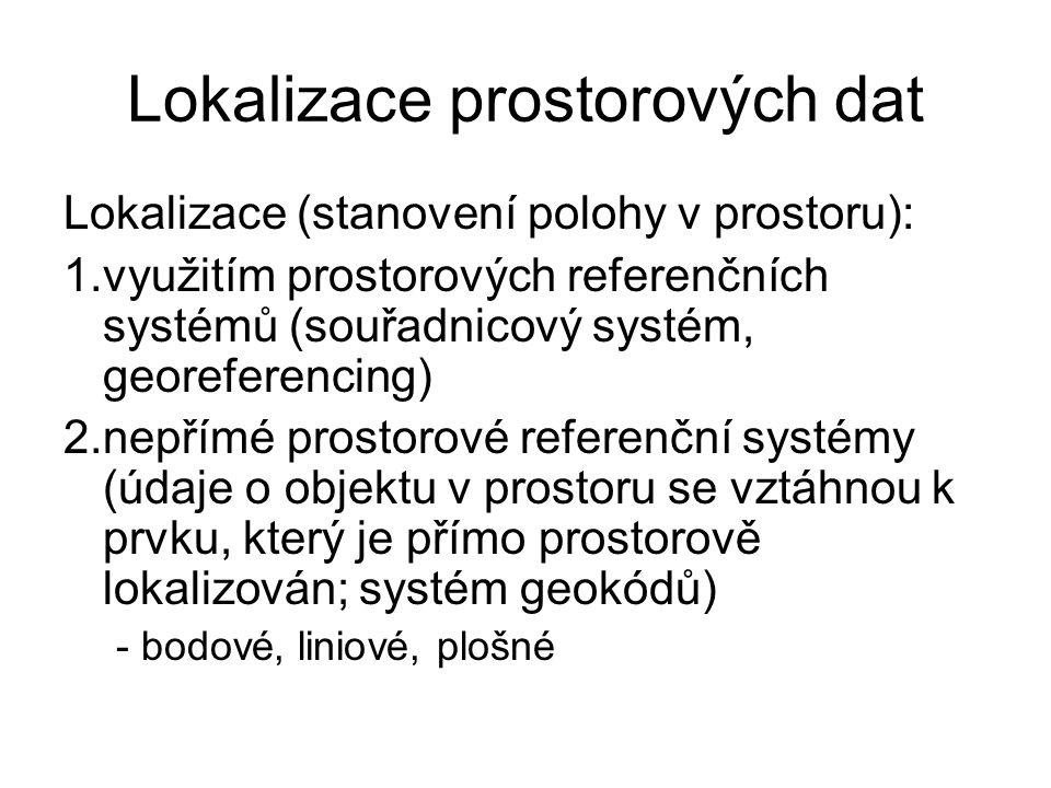 Lokalizace prostorových dat Lokalizace (stanovení polohy v prostoru): 1.využitím prostorových referenčních systémů (souřadnicový systém, georeferencin