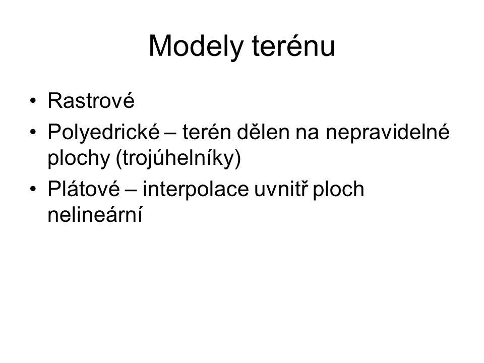 Modely terénu Rastrové Polyedrické – terén dělen na nepravidelné plochy (trojúhelníky) Plátové – interpolace uvnitř ploch nelineární