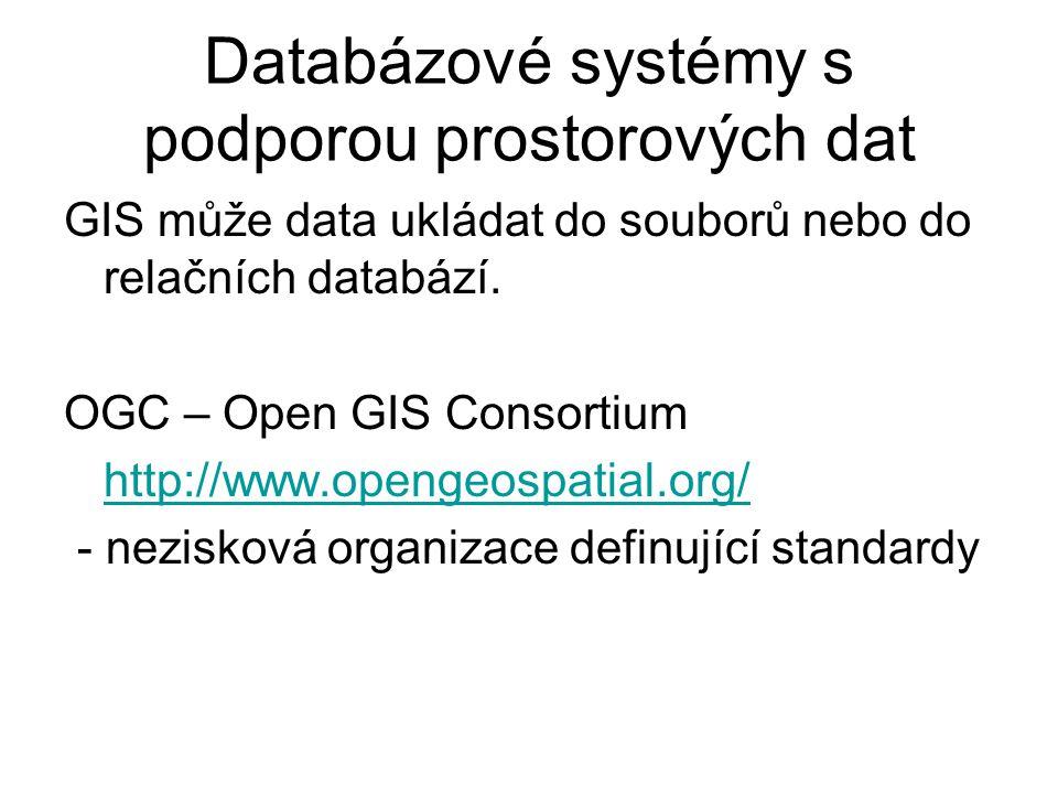 Databázové systémy s podporou prostorových dat GIS může data ukládat do souborů nebo do relačních databází. OGC – Open GIS Consortium http://www.openg