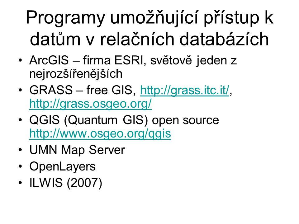 Programy umožňující přístup k datům v relačních databázích ArcGIS – firma ESRI, světově jeden z nejrozšířenějších GRASS – free GIS, http://grass.itc.i