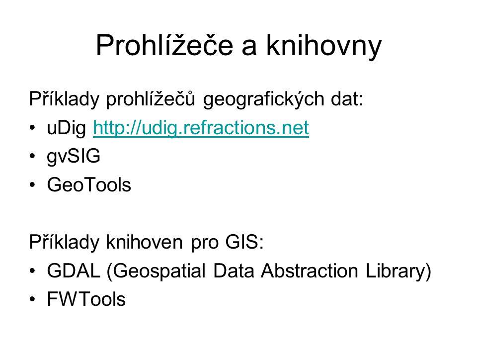Prohlížeče a knihovny Příklady prohlížečů geografických dat: uDig http://udig.refractions.nethttp://udig.refractions.net gvSIG GeoTools Příklady kniho