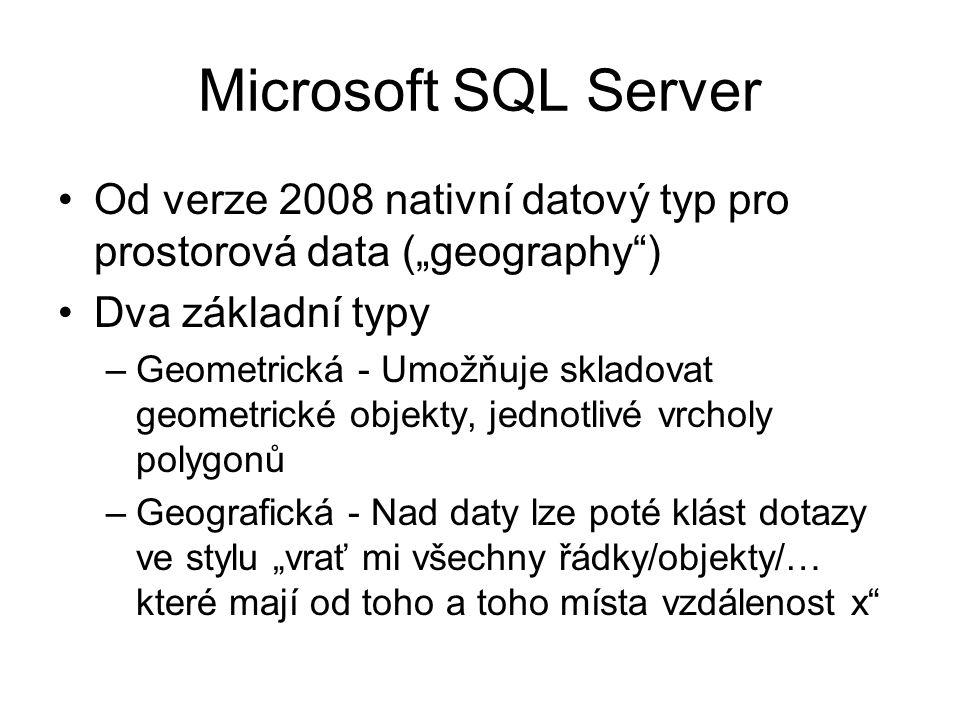 """Microsoft SQL Server Od verze 2008 nativní datový typ pro prostorová data (""""geography"""") Dva základní typy –Geometrická - Umožňuje skladovat geometrick"""