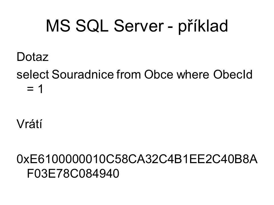 MS SQL Server - příklad Dotaz select Souradnice from Obce where ObecId = 1 Vrátí 0xE6100000010C58CA32C4B1EE2C40B8A F03E78C084940
