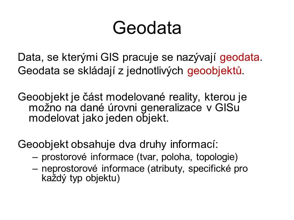 Geodata Data, se kterými GIS pracuje se nazývají geodata. Geodata se skládají z jednotlivých geoobjektů. Geoobjekt je část modelované reality, kterou