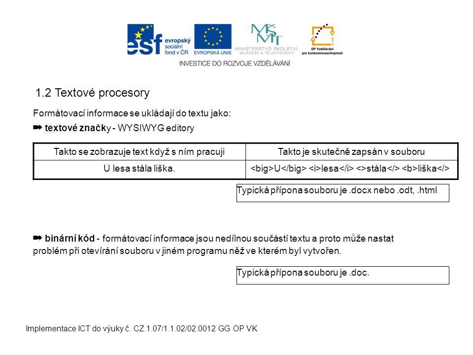 Implementace ICT do výuky č. CZ.1.07/1.1.02/02.0012 GG OP VK 2.1 Nastavení stránky