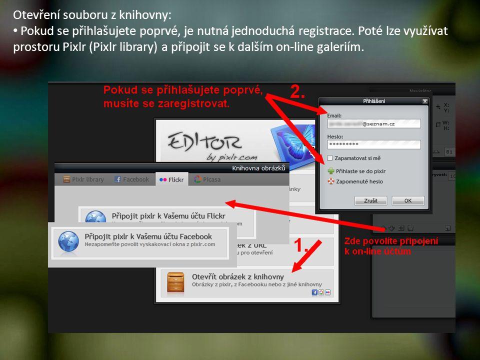 Otevření souboru z knihovny: Pokud se přihlašujete poprvé, je nutná jednoduchá registrace. Poté lze využívat prostoru Pixlr (Pixlr library) a připojit