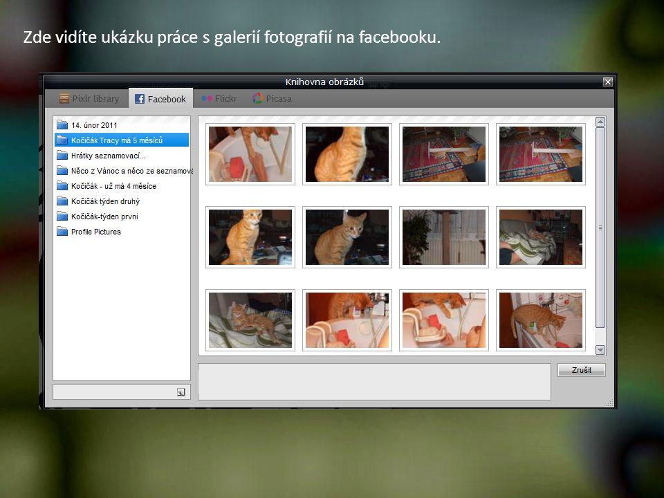 Zde vidíte ukázku práce s galerií fotografií na facebooku.