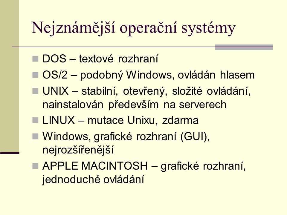 Nejznámější operační systémy DOS – textové rozhraní OS/2 – podobný Windows, ovládán hlasem UNIX – stabilní, otevřený, složité ovládání, nainstalován především na serverech LINUX – mutace Unixu, zdarma Windows, grafické rozhraní (GUI), nejrozšířenější APPLE MACINTOSH – grafické rozhraní, jednoduché ovládání