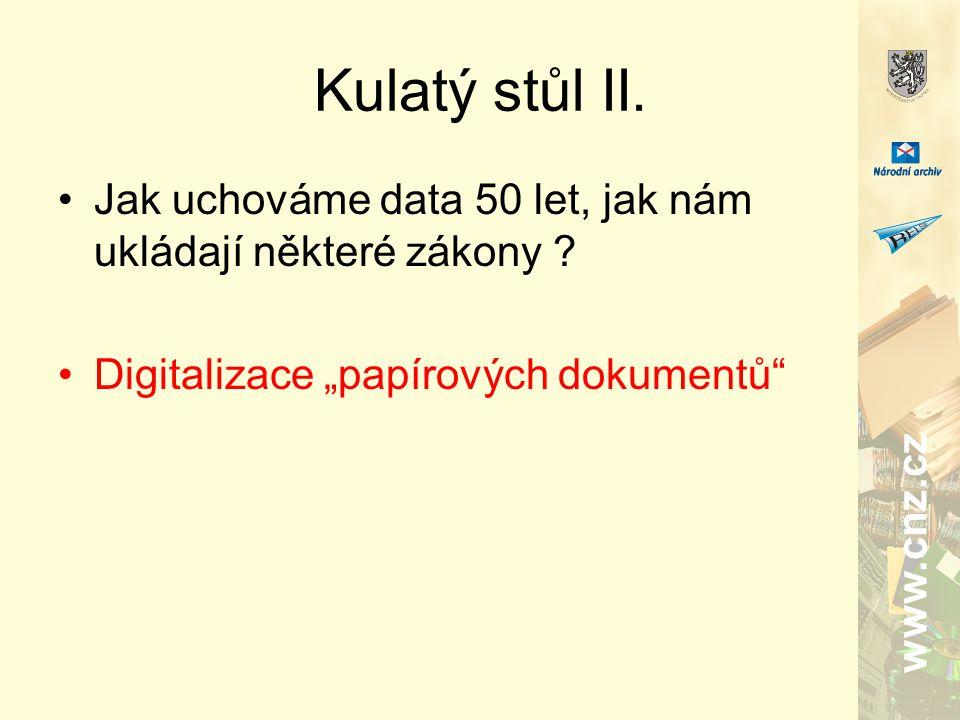 www.cnz.cz Kulatý stůl II. Jak uchováme data 50 let, jak nám ukládají některé zákony .