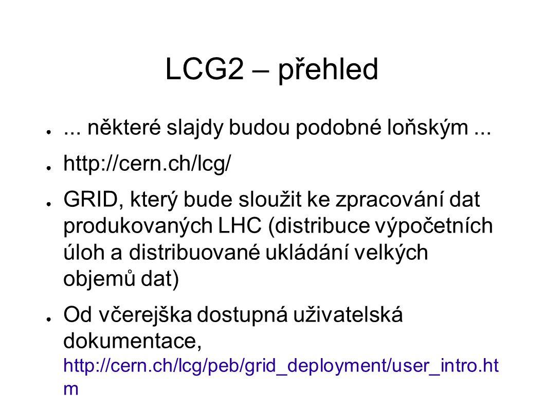 """LCG2 – status ● Oficiální vydání LCG2 software je o mnoho měsíců opožděno ● Na počátku bylo vybráno několik """"CORE sites , které LCG2 testovaly, ostatní nesměly instalovat."""