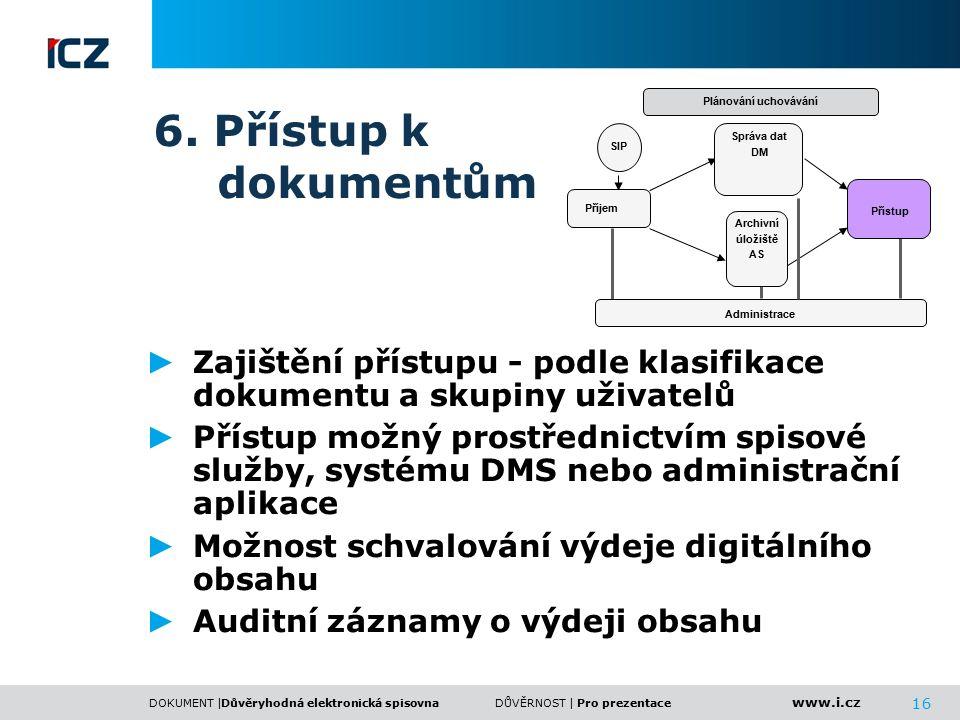 www.i.cz DOKUMENT |DŮVĚRNOST | 16 6. Přístup k dokumentům ► Zajištění přístupu - podle klasifikace dokumentu a skupiny uživatelů ► Přístup možný prost