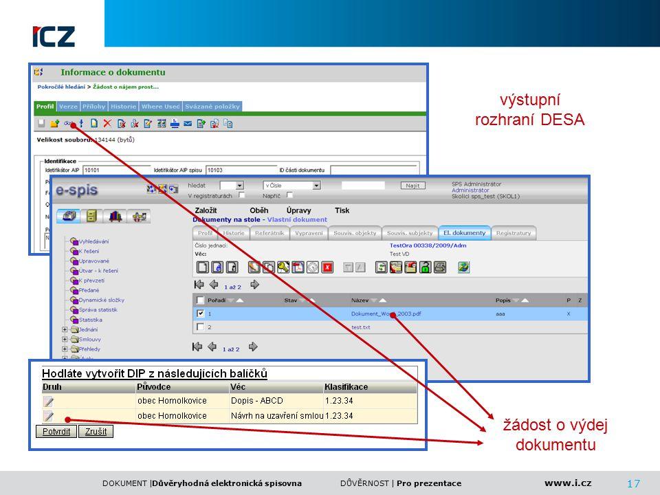 www.i.cz DOKUMENT |DŮVĚRNOST | 17 Důvěryhodná elektronická spisovnaPro prezentace výstupní rozhraní DESA žádost o výdej dokumentu