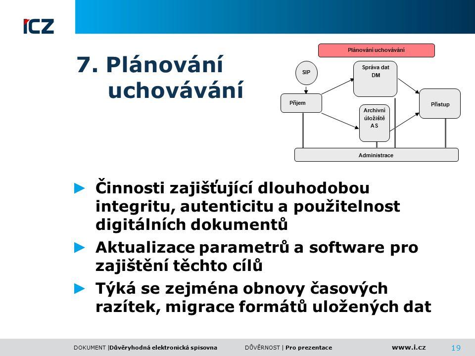www.i.cz DOKUMENT |DŮVĚRNOST | 19 7. Plánování uchovávání ► Činnosti zajišťující dlouhodobou integritu, autenticitu a použitelnost digitálních dokumen