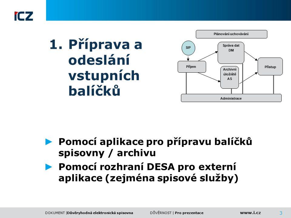 www.i.cz DOKUMENT |DŮVĚRNOST | 3 1.Příprava a odeslání vstupních balíčků ► Pomocí aplikace pro přípravu balíčků spisovny / archivu ► Pomocí rozhraní D