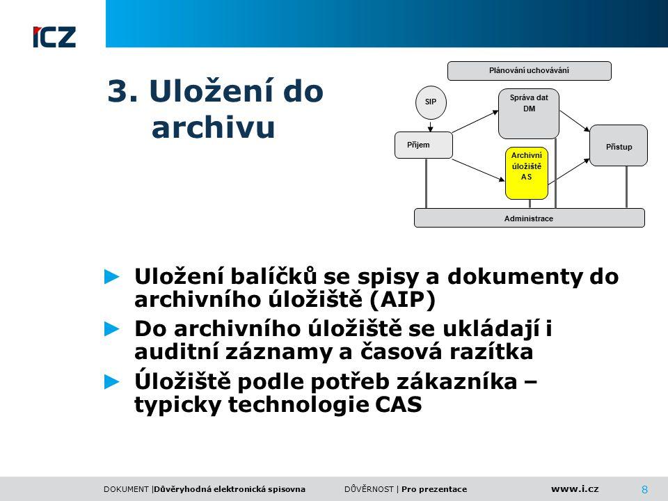 www.i.cz DOKUMENT |DŮVĚRNOST | 8 3. Uložení do archivu ► Uložení balíčků se spisy a dokumenty do archivního úložiště (AIP) ► Do archivního úložiště se