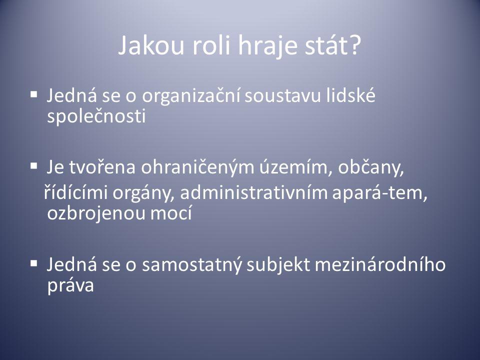 Jakou roli hraje stát?  Jedná se o organizační soustavu lidské společnosti  Je tvořena ohraničeným územím, občany, řídícími orgány, administrativním